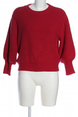 MNG Grobstrickpullover rot Zopfmuster Casual-Look