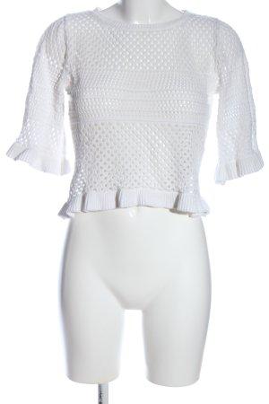 MNG Gehaakte trui wit kabel steek casual uitstraling