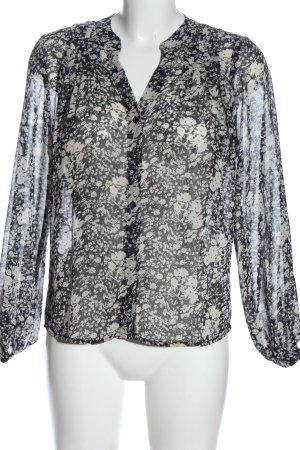 MNG Hemd-Bluse schwarz-weiß Allover-Druck Casual-Look