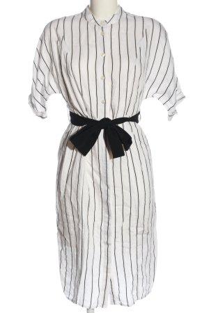MNG Hemdblusenkleid weiß-schwarz Streifenmuster Business-Look