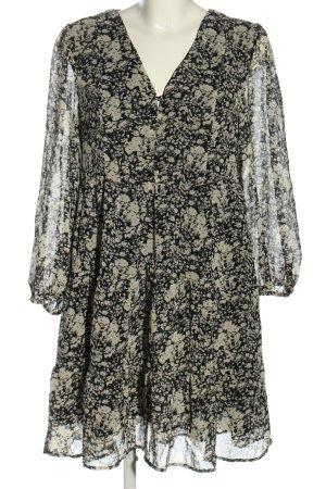 MNG Hemdblusenkleid schwarz-weiß Allover-Druck Business-Look