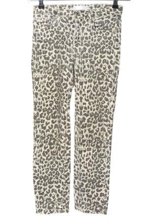 MNG High Waist Jeans weiß-schwarz Leomuster Casual-Look