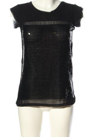 MNG Jeans ärmellose Bluse schwarz Glanz-Optik