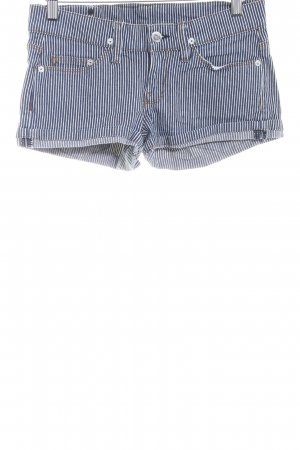 MNG Jeans Hot Pants blue-natural white striped pattern Metal buttons