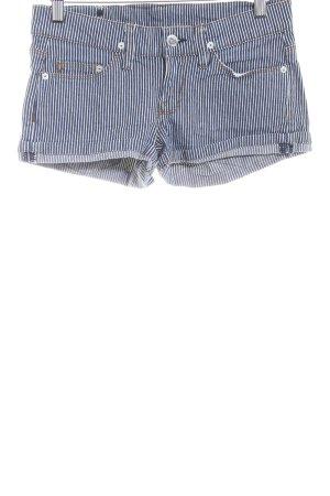 MNG Jeans Hot Pants blau-wollweiß Streifenmuster Metallknöpfe