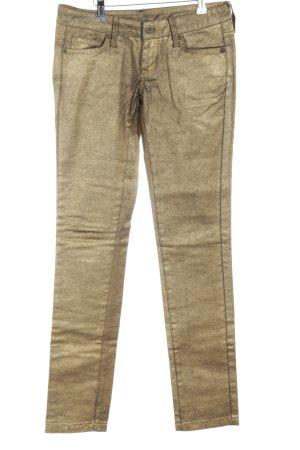 MNG Jeans Röhrenjeans goldfarben extravaganter Stil