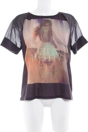 MNG Jeans T-Shirt schwarz-apricot Motivdruck sportlicher Stil
