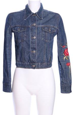 MNG Jeansjacke blau Blumenmuster Casual-Look