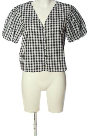 MNG Kurzarm-Bluse schwarz-weiß Allover-Druck Casual-Look