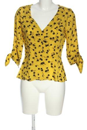 MNG Camicia a maniche corte giallo pallido-nero stampa integrale stile casual