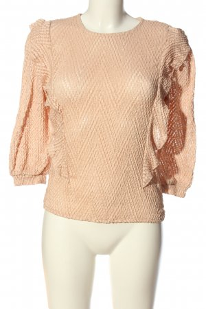 MNG Langarm-Bluse nude Zopfmuster Casual-Look