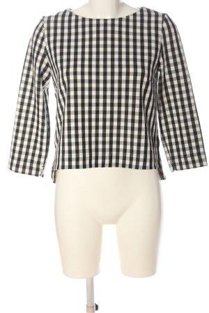 MNG Langarm-Bluse schwarz-weiß Karomuster Casual-Look