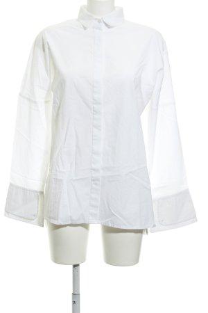MNG Langarm-Bluse weiß Schriftzug gestickt Casual-Look
