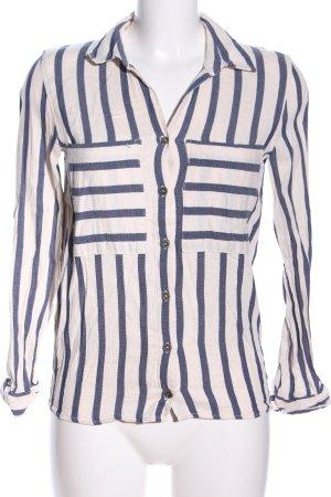 MNG Langarmhemd wollweiß-blau Streifenmuster Business-Look