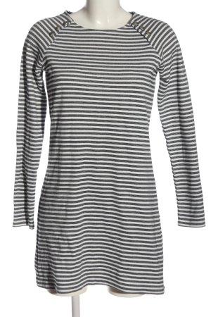 MNG Langarmkleid weiß-schwarz Streifenmuster Casual-Look