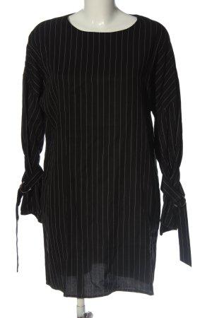 MNG Langarmkleid schwarz-weiß Streifenmuster Business-Look