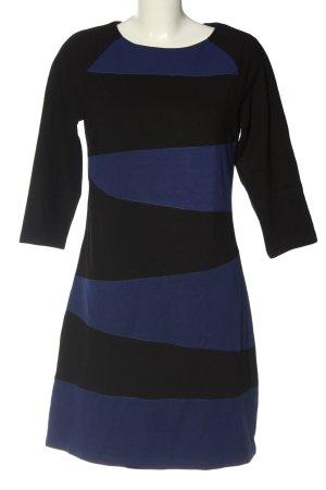 MNG Langarmkleid blau-schwarz abstraktes Muster Casual-Look