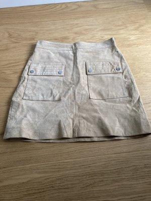 MNG Genuine Leather Falda de cuero crema