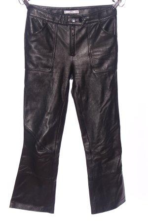 MNG Pantalón de cuero negro look casual