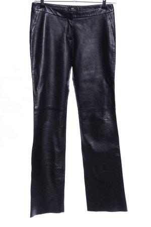 MNG Pantalón de cuero negro look efecto mojado