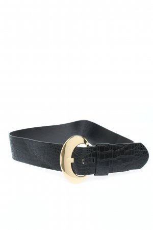 MNG Cintura in ecopelle nero-oro motivo animale stile casual