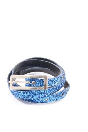 MNG Ceinture en similicuir bleu élégant