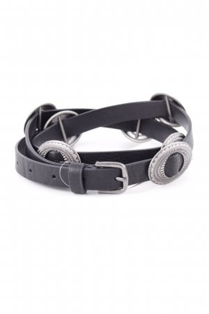 MNG Cintura in ecopelle nero-argento stile casual