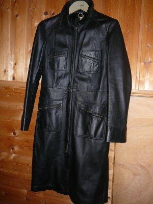 MNG Abrigo de cuero negro Cuero