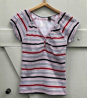 MNG Mango T-Shirt Marine blau rot weiß gestreift Gr. XXS ungetragen neu