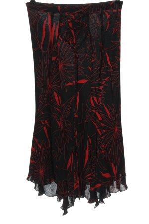MNG Midirock schwarz-rot Allover-Druck klassischer Stil
