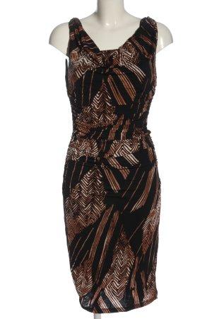 MNG Midikleid schwarz-braun Streifenmuster Elegant