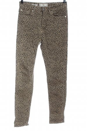 MNG Drainpipe Trousers natural white-black allover print casual look