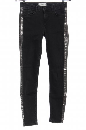 MNG Röhrenjeans schwarz-silberfarben Casual-Look