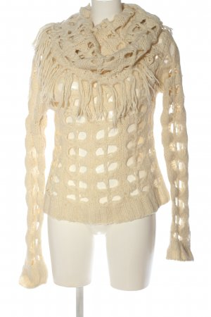 MNG Strickpullover creme Zopfmuster Casual-Look