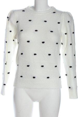MNG Rundhalspullover weiß-schwarz Punktemuster Casual-Look