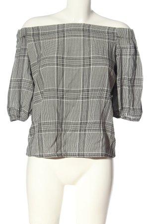 MNG Schlupf-Bluse schwarz-weiß Karomuster Casual-Look