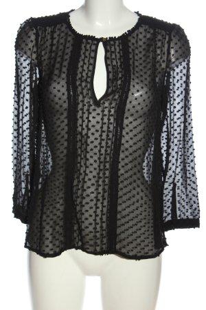 MNG Schlupf-Bluse schwarz Punktemuster Casual-Look