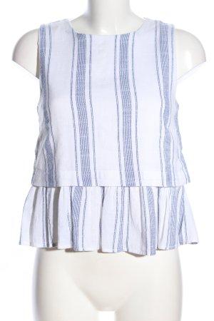 MNG Schößchentop weiß-blau Streifenmuster Casual-Look