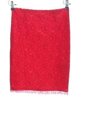 MNG Kanten rok rood bloemenprint elegant