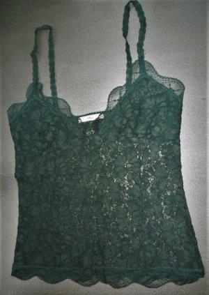MNG Top di merletto verde scuro