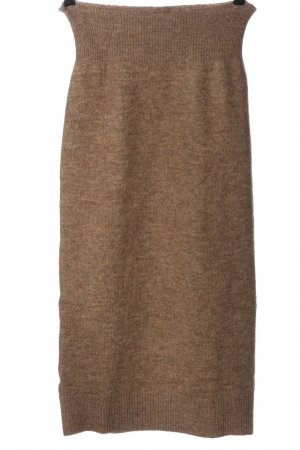 MNG Falda de punto marrón moteado look casual