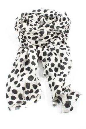 MNG Écharpe en tricot blanc-noir motif de tache style décontracté