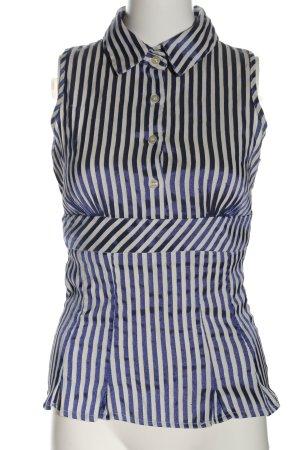 MNG SUIT ärmellose Bluse blau-weiß Allover-Druck Business-Look