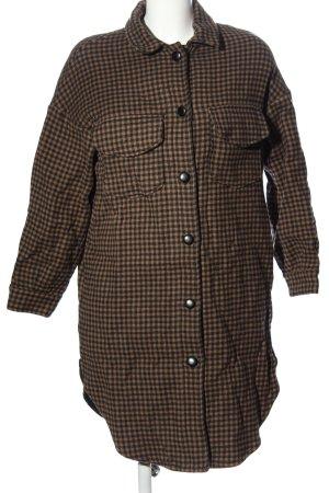 MNG SUIT Długi płaszcz czarny-brązowy Wzór w kratkę W stylu casual