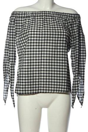 MNG SUIT Carmen blouse zwart-wit geruite print casual uitstraling