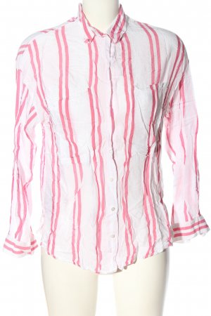 MNG SUIT Hemd-Bluse weiß-pink Streifenmuster Casual-Look