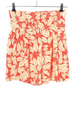 MNG SUIT Short taille haute rouge-crème imprimé allover style décontracté
