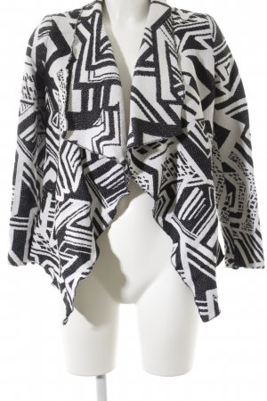 MNG SUIT Kurz-Blazer weiß-schwarz abstraktes Muster Casual-Look