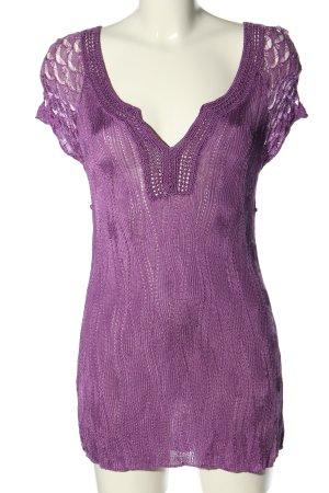 MNG SUIT Kurzarm-Bluse lila Elegant