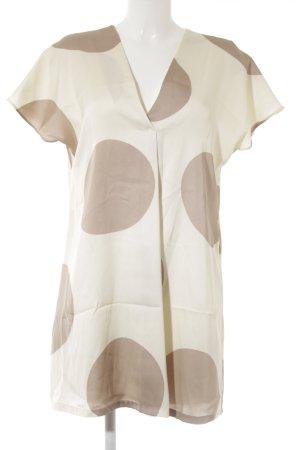 MNG SUIT Kurzarmkleid beige-creme Punktemuster Elegant